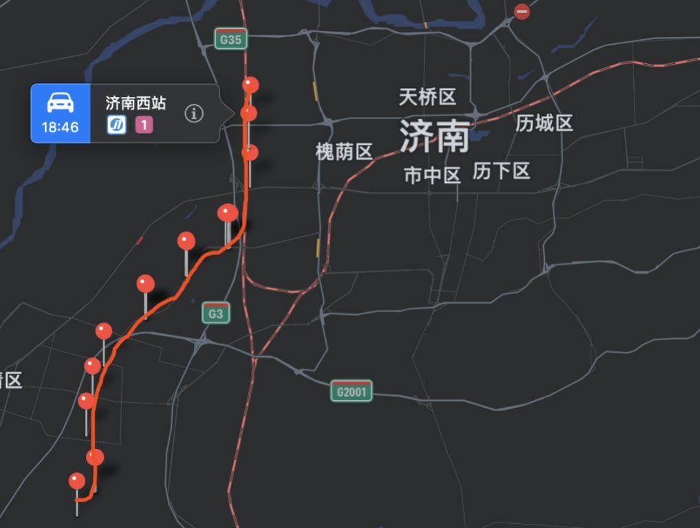 """图片来源:高德地图   这也让济南1号线地铁被网友调侃为""""一条郊区"""
