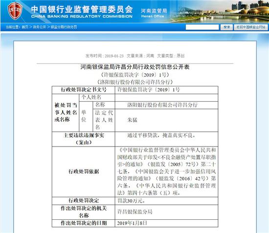 河南银监局1月24日通报截图