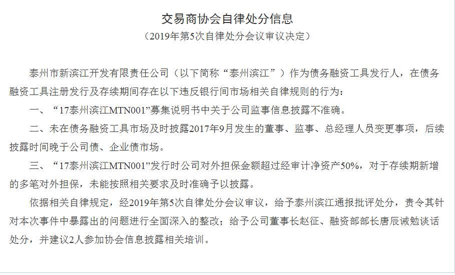 泰州市新滨江开辟公司债券说出违规 董事长赵征被诫勉说话