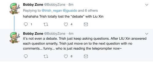 双方主播的实力和背景对比,刘欣拿到过世界英语演讲冠军,美国主播拿到过…选美冠军