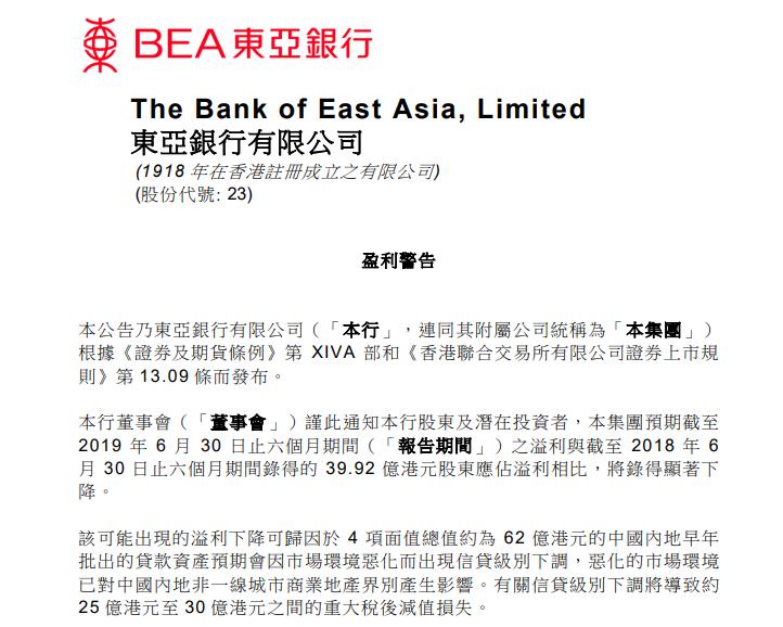 东亚银行预期中期溢利同比显著下降,去年该行净利暴跌三成