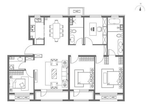 中海望京府139�O四室两厅两卫户型图(图片来源:网络)