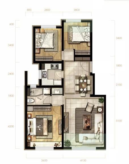 89㎡三室两厅一卫户型图