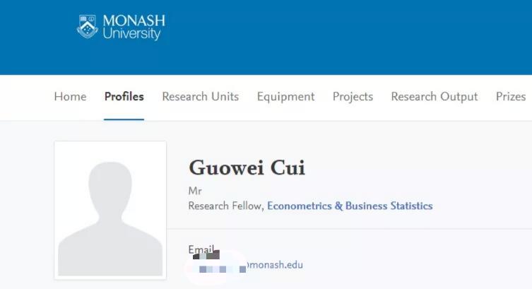 崔国伟在莫纳什大学官方网站的个人资料。 莫纳什大学官网截图