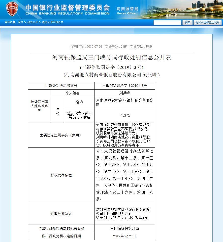 渑池农商银行贷款业务?#29616;?#36829;规被罚45万元 责任