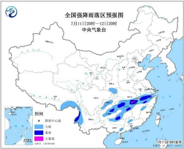 暴雨蓝色预警 全国13省区有大到暴雨