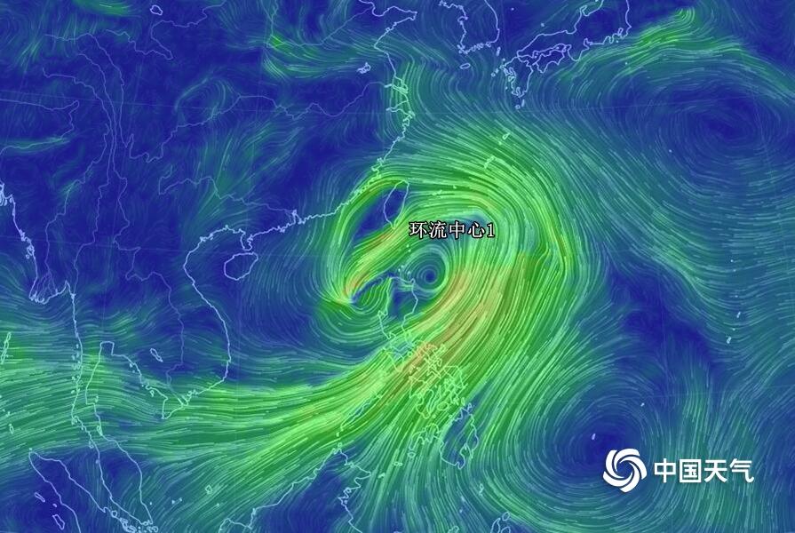 """台风""""丹娜丝""""彩色风场图"""