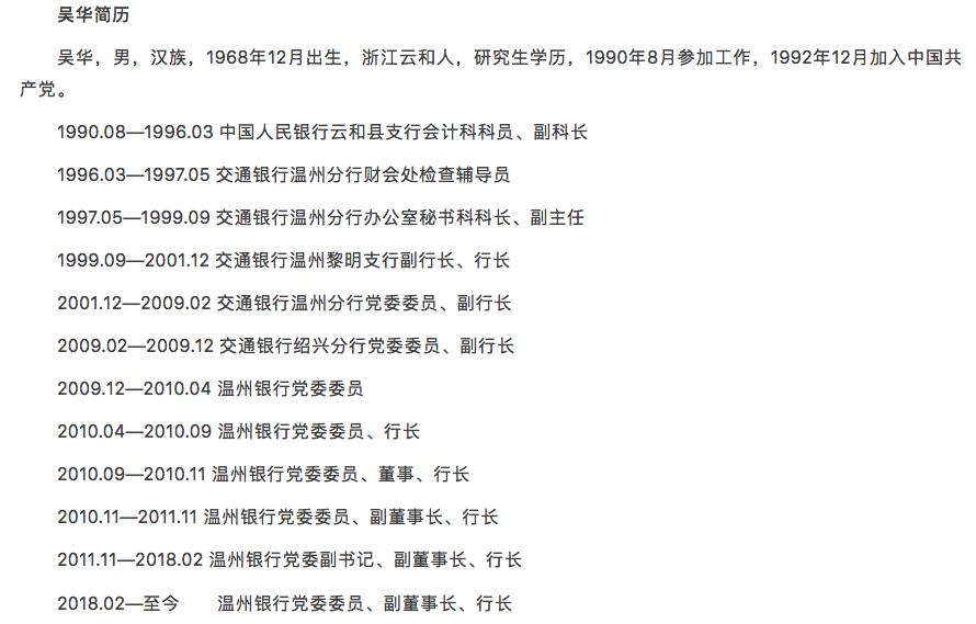 温州银行行长吴华接受调查,该行去年营收净利均为负增长