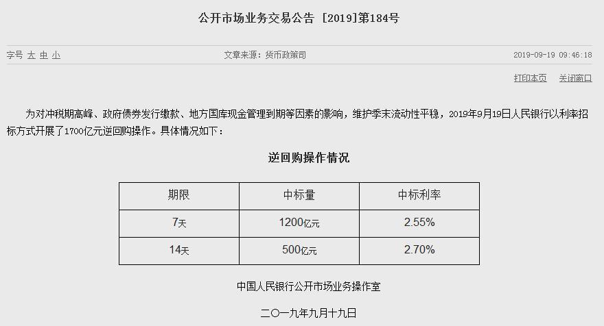 """央行单日""""放水""""1700亿元 中国是否会降息成焦点"""