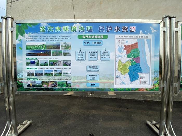 图为长沙市望城区高塘岭街道湘江村水环境治理宣传板。新华网 汪亚摄
