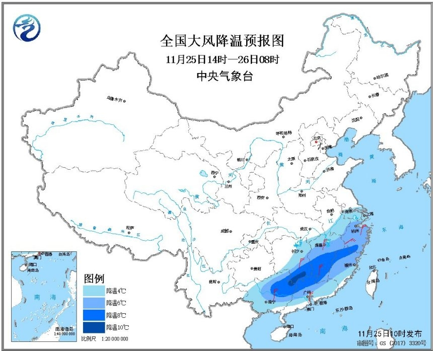 寒潮蓝色预警 江南华南大部阵风6至7级局地降温超10℃
