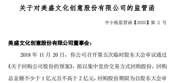 """美盛文化回购股份""""爽约""""收监管函!控股股东曾违规占用15亿,实控人赵小强吃警示函"""