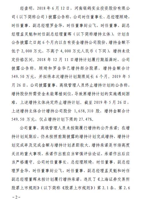 银鸽投资前董事长等5人未按承诺增持股票遭上交所通报批评