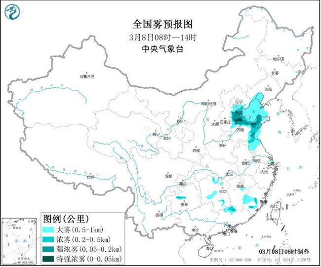 大雾黄色预警:辽宁北京天津河北山东江苏等地有大雾