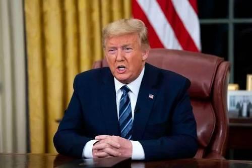 当地时间3月11日晚,美国总统特朗普在华盛顿白宫发表讲话。(新华社)
