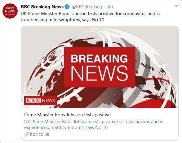 英国首相约翰逊新冠病毒检测结果呈阳性