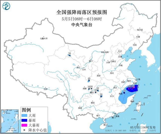暴雨蓝色预警:江南部分地区有大到暴雨浙江局地有大暴雨
