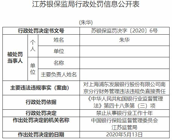 浦发南京分行收30万元罚单,前员工因犯罪被禁止从业10年