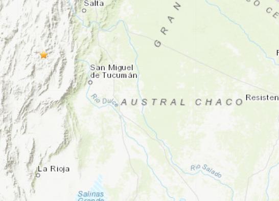 阿根廷北部发生5.0级地震 震源深度32公里