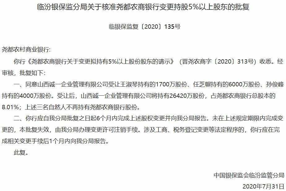 尧都农商银行第四大股东易主 行长李鹏升任董事长