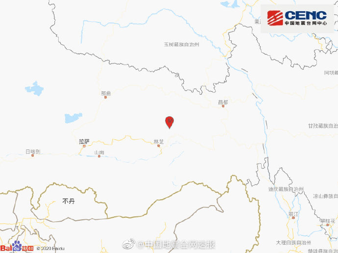 西藏林芝市波密县发生3.9级地震