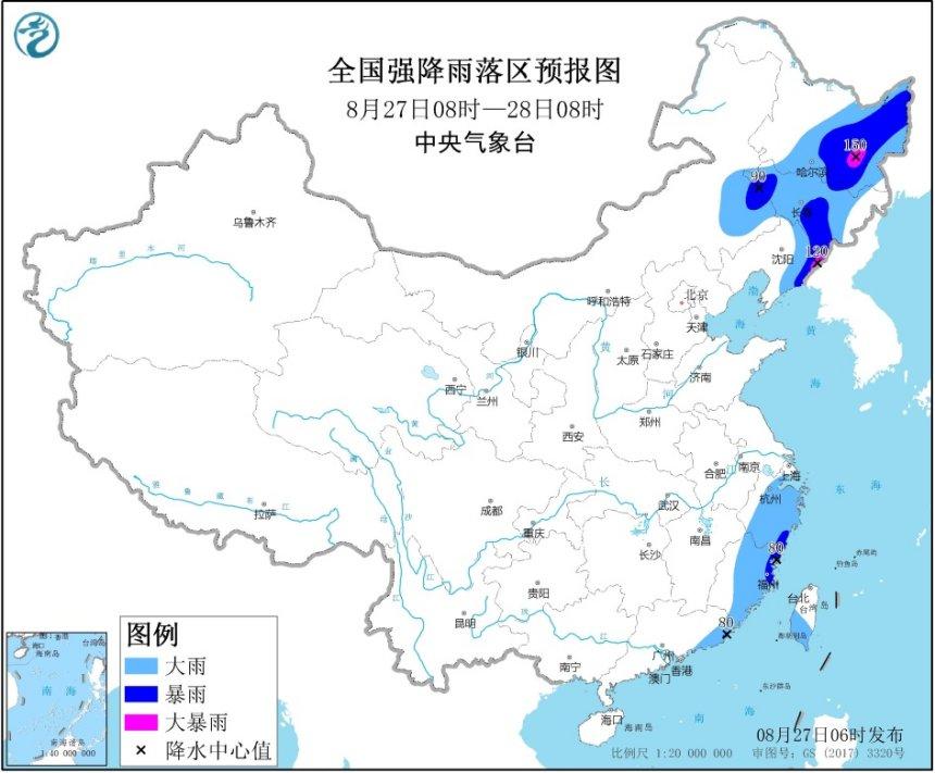 暴雨黄色预警:黑龙江、辽宁等地部分地区有大暴雨