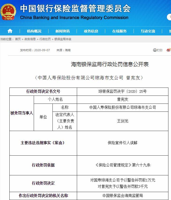 保险业务事项虚假记载等 中国人寿旗下多公司被罚