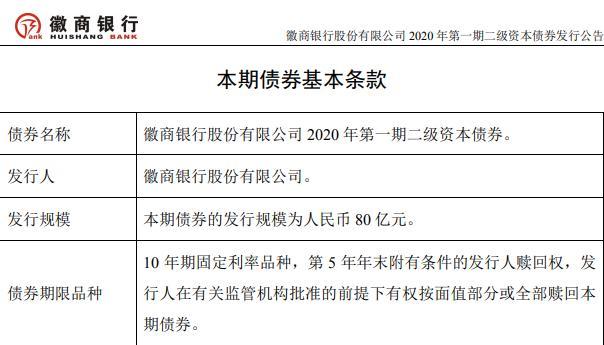 徽商银行拟发行二级资本债 首期募资不超过80亿元
