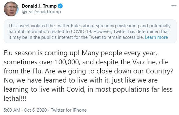 特朗普又发推拿流感类比新冠病毒 遭推特贴警告标签脸书删帖