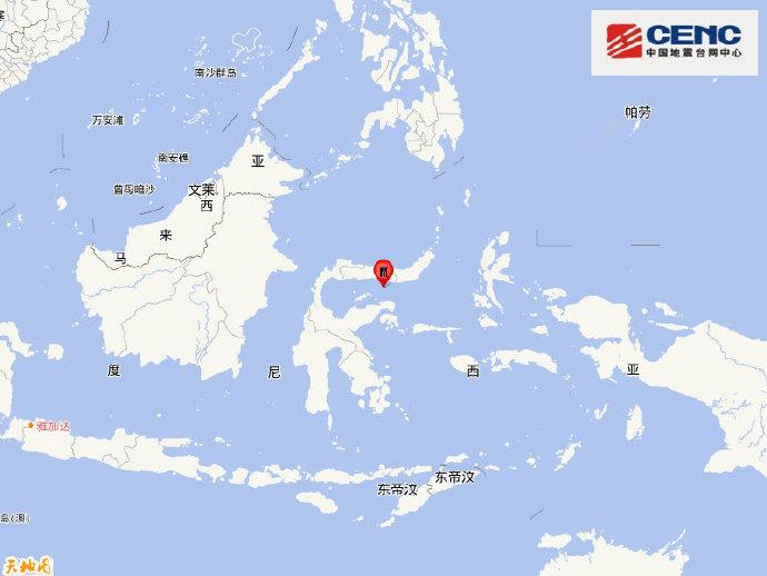 印尼苏拉威西岛附近海域发生6.3级地震 震源深度130千米