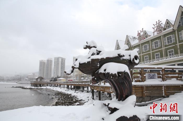 山东烟台威海两市大雪纷飞 部分地区出现暴雪