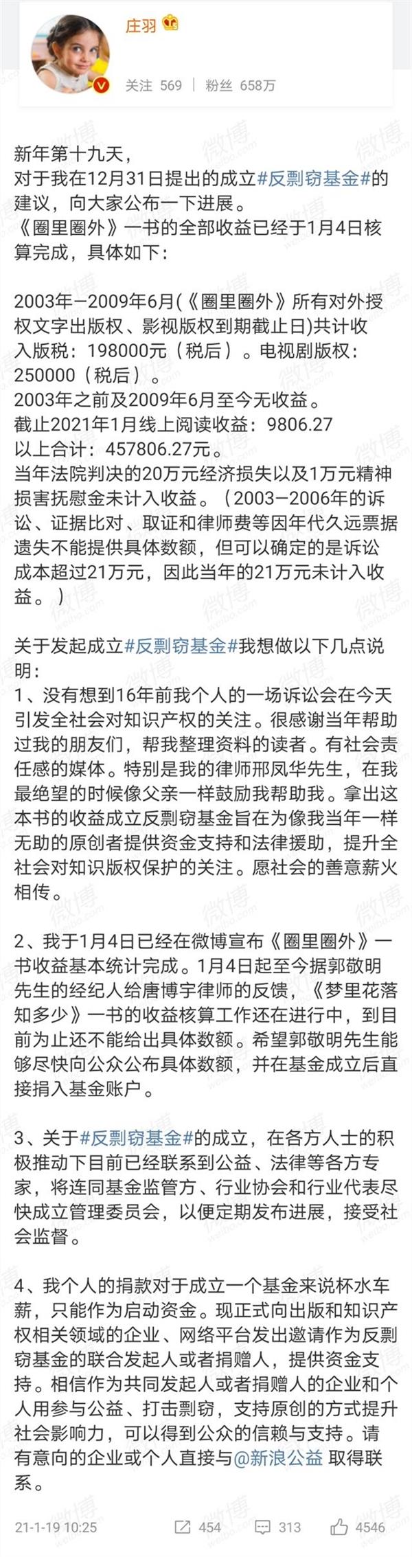"""""""庄羽催郭敬明尽快公开收益:抓紧成立剽窃基金 并捐入账户"""