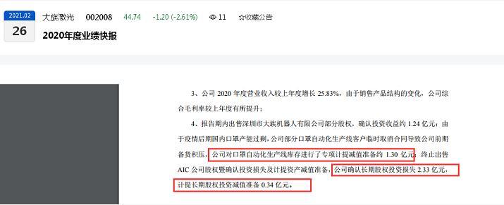 """大族激光2020年多项计提减值准备:""""口罩机""""计提约1.30亿元、长期股权投资计提0.34亿元"""
