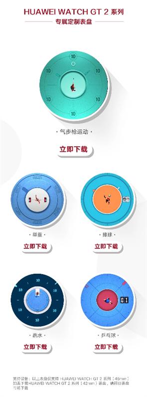 华为手表上线5款运动主题表盘:奥运金牌同款
